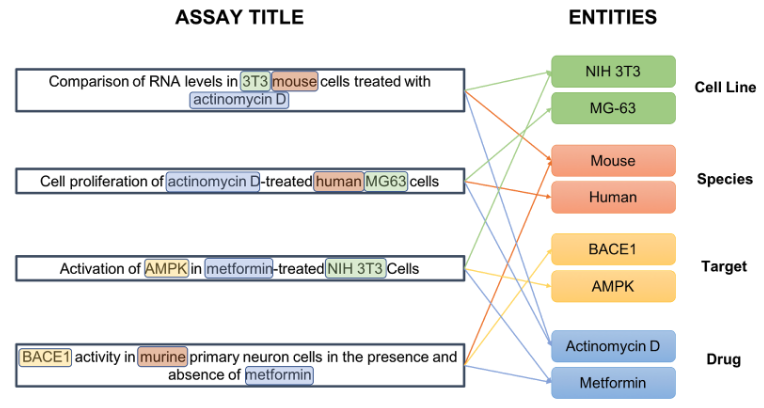 Extraction of Cell Line, Drug, Species and Target entities within the unstructured titles of a selection of assays
