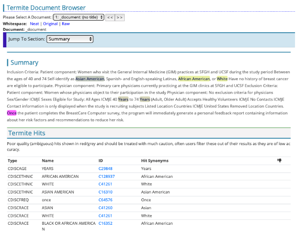 CDISC enriched text in TERMite 6.3 - CDISCAGE (age), CDISCETHNIC (ethnicity) and CDISCRACE (race) terms identified.