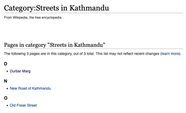 Streets of Kathmandu categories in Wikipedia