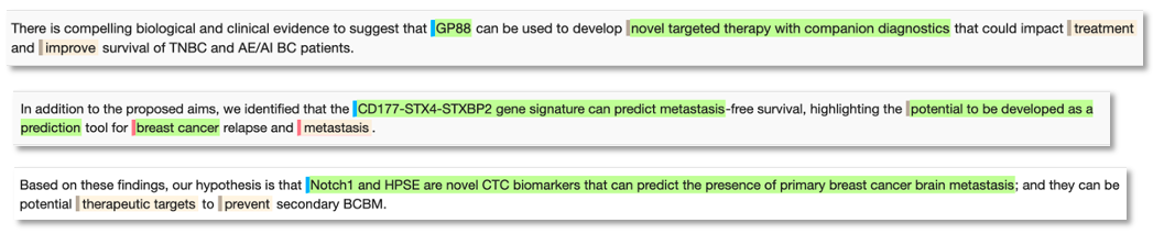 Novel biomarker phrase examples for Breast Cancer: